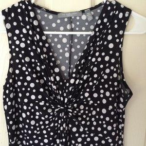 NY Collection Black and White Polka Dot